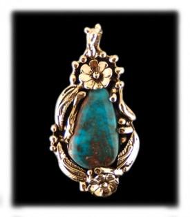 Bisbee Turquoise Gold Pendant