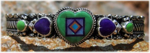 Aldrigde Inlay Carico Lime Turquoise Bracelet and Sugilite