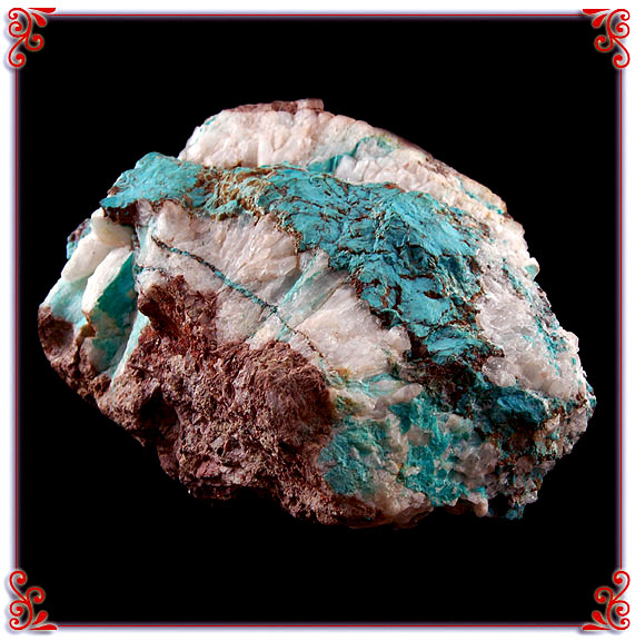 Specimen of Natural Bisbee Turquoise in Quartz from the Hartman Collection