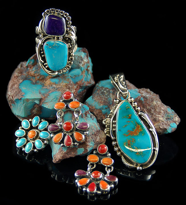 Southwestern Jewelry with Natural American Turquoise from the Bisbee Mine and the Blue Gem Mine