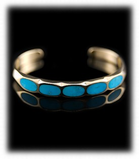 Blue Inlay Turquoise Bracelet