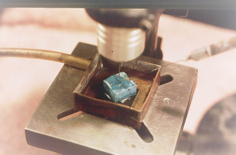 Bead making drill with turquoise bead blank