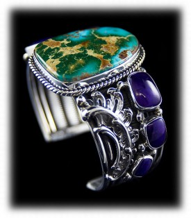 Turquoise and Sugilite Southwest Fashion Turquoise Jewelry