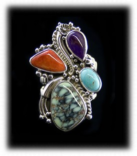 Four Stone Women's Turquoise Ring with Tortoise Turquoise, Sleeping Beauty, Spiny Oysster, and Sugilite