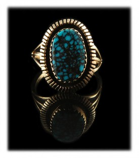 Artisan Handmade Sterling Silver and natural spiderweb Paiute Turquoise Ring in a 14k yellow gold ring setting