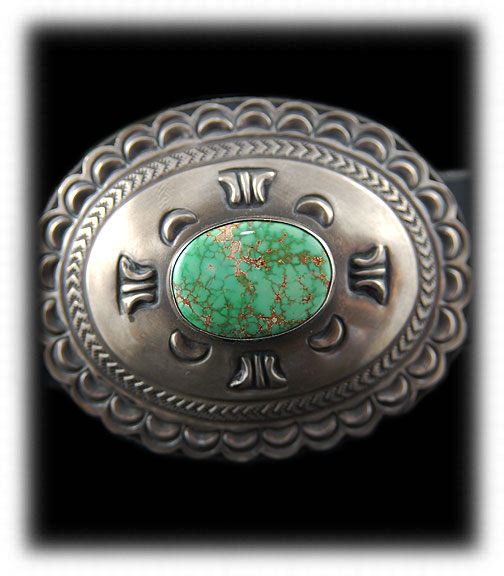 Silver Concho Belt with Carico Lake Turquoise