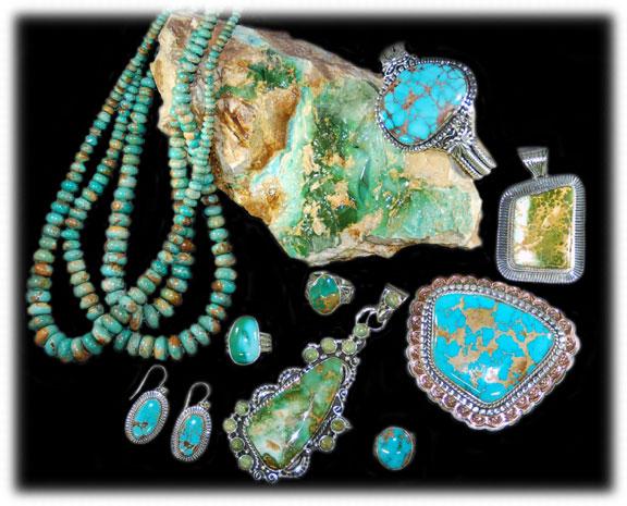 Royston Turquoise Jewelry on Rough Royston Turquoise