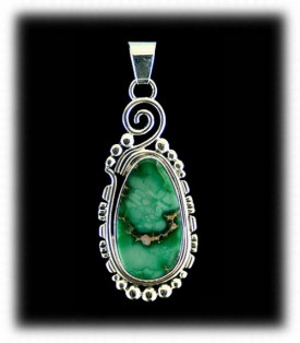 Silver Pendant with Green Turquoise