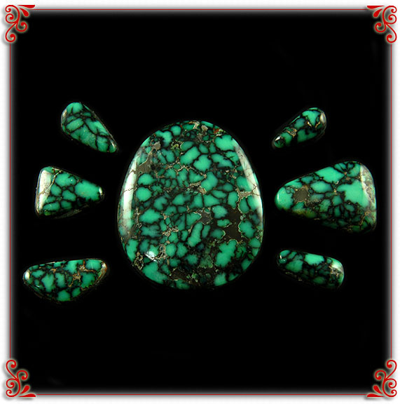 Green Spiderweb Turquoise Cabochons