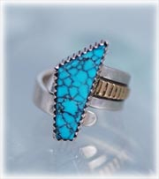 Womans Sterling Silver spiderweb blue Turquoise ring made in Colorado