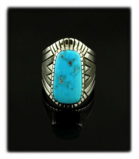 Native Indian Artisan Alton Bedonie Turquoise Ring with Blue Gem