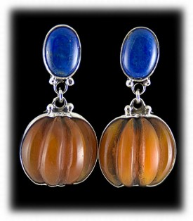 Amber Beads with Lapis