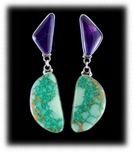 Turquoise and Sugilite Earrings made in America