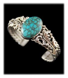 Tibetan Spiderweb Turquoise Bracelet - hand cut in America