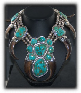 Stormy Mountain American Turquoise Necklace with kodiak Bear Claws