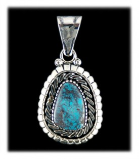 Smoky Bisbee Turquoise Pendant by Ben Yazzie