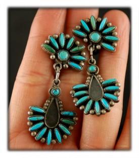 Vintage American Indian Turquoise Earrings