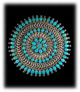 Antique Navajo Western Silver Turquoise Pin