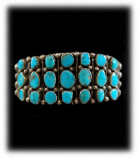 Antique Zuni Indian Cluster Turquoise Silver Bracelet