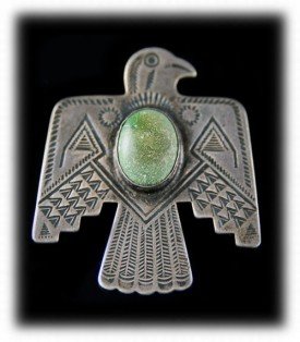 Antique Turquoise Thunderbird Pin