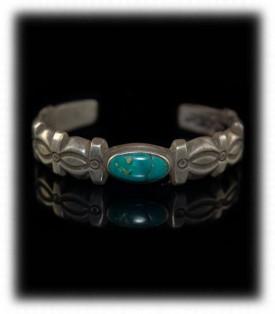 Antique Western Silver - Navajo Silver Ingot Bracelet