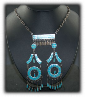 Zuni Channel Inlay Necklace - Antique