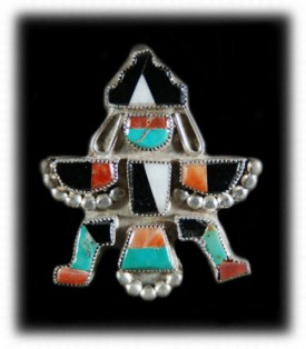 Antique Zuni Inlay Pin - Antique Western Silver