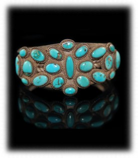 Antique Navajo Turquoise Cluster Bracelet