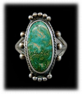Antique Western Silver Ring - Navajo Turquoise