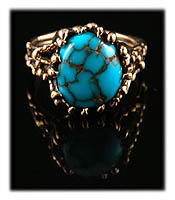 Apache Blue Spiderweb Turquoise Ring