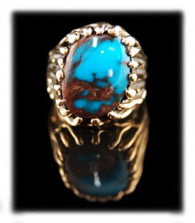 Authentic Bisbee Turquoise in Gold