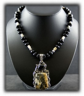 Bead Necklace with Black Onyx and High Grade Silver Ore