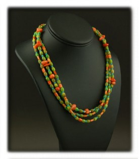 Bead Necklaces with Gaspeite and Coral