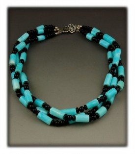 Peruvian Opal Necklace with Black Onyx