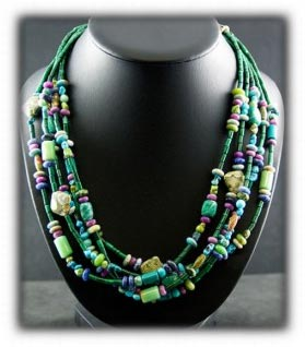 Treasure Bead Necklace Turquoise and Gemstones