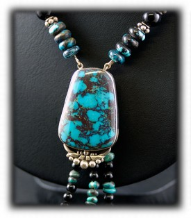 Silver and Bead Necklace Turquoise