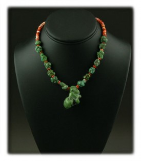 Bead Necklace with lime Turquoise