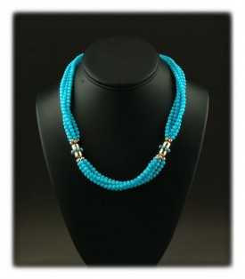 Bead Neckalce with Sleeping Beauty Turquoise and glass beads