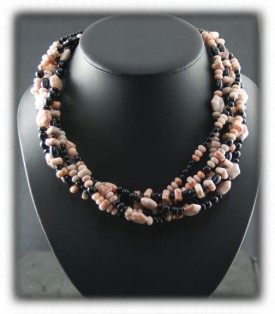 Bead Necklace by Nattarika Hartman with  Ryolite and Black Onyx beads