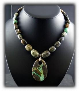 Turquoise Beaded Pendant - Nevada Green Turquoise Beads