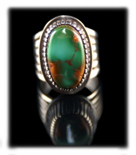 Native American Handmade Silver and Turquoise Ring by American Indian Jewelry artisan Ben Yazzie who belongs to the Navajo tribe