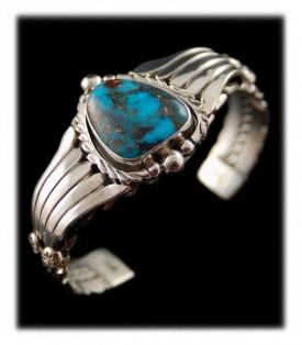 Navajo Handmade Bisbee Turquoise Bracelet - Ben Yazzie