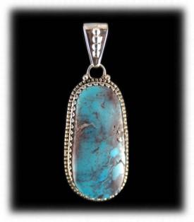 Large Smoky Bisbee Turquoise Pendant - Bisbee Turquoise Jewelry
