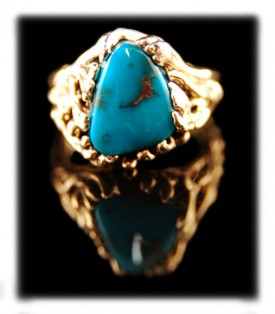 Handmade Turquoise Ring with Bisbee Blue Turquoise by John Hartman