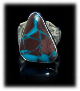 Here is a nice example of natural Bisbee Ribbon Turquoise in a Sterling Silver Ring by Dillon Hartman