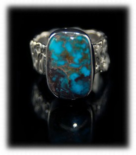Bisbee Turquoise mens silver band ring