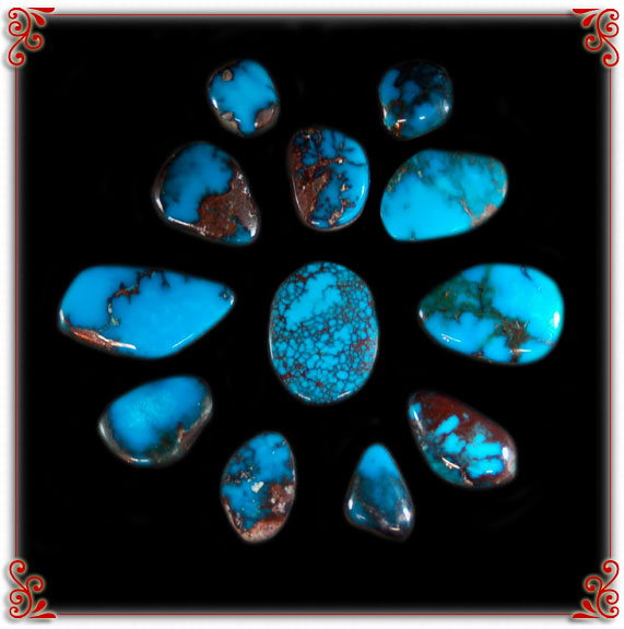 Natural American Turquoise Stones from the Bisbee Mine