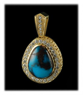 Bisbee Turquoise, Opal and Diamond Necklace