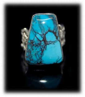 Amazing Spiderweb Bisbee Turquoise Ring