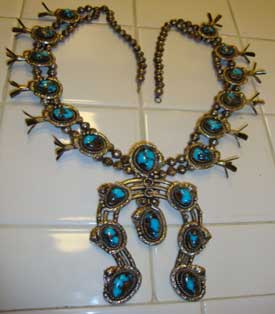 Vintage Bisbee Turquoise Squash Blossom Necklace